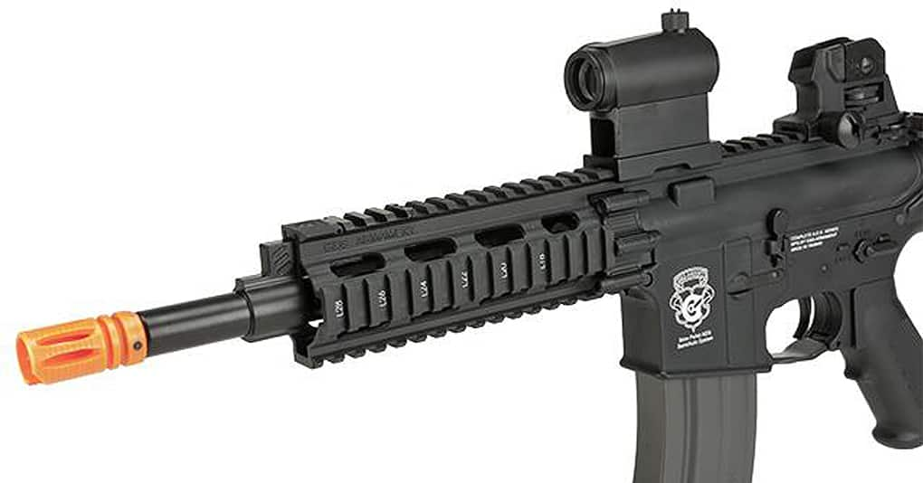 angle shot of black airsoft rifle
