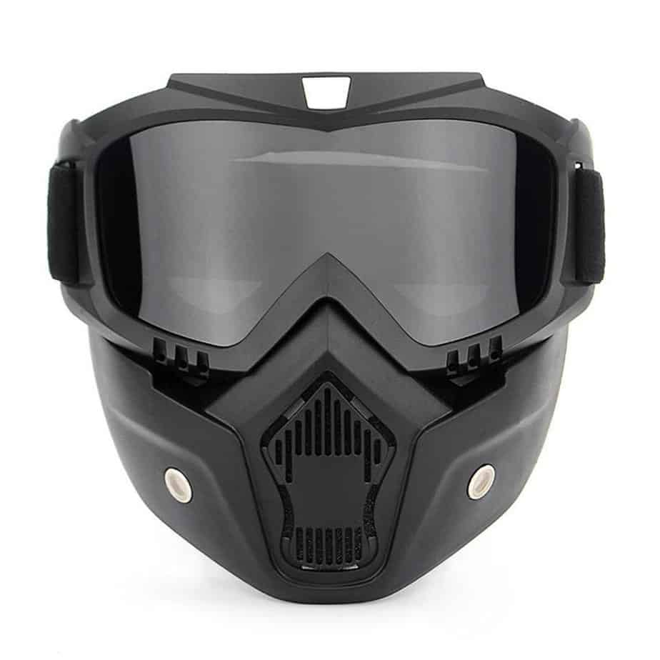 front view of goggles and mask