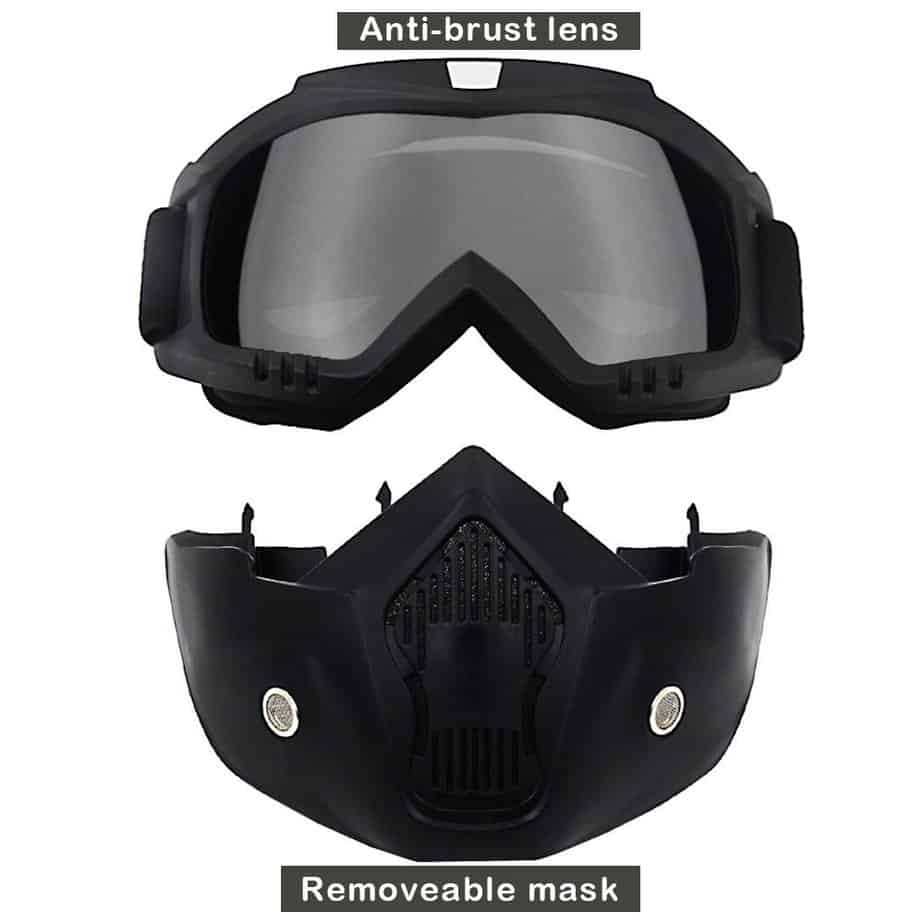 split view of goggles and mask