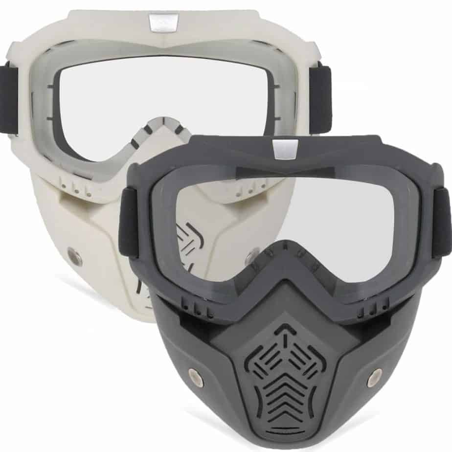 front view of rubber airsoft goggles