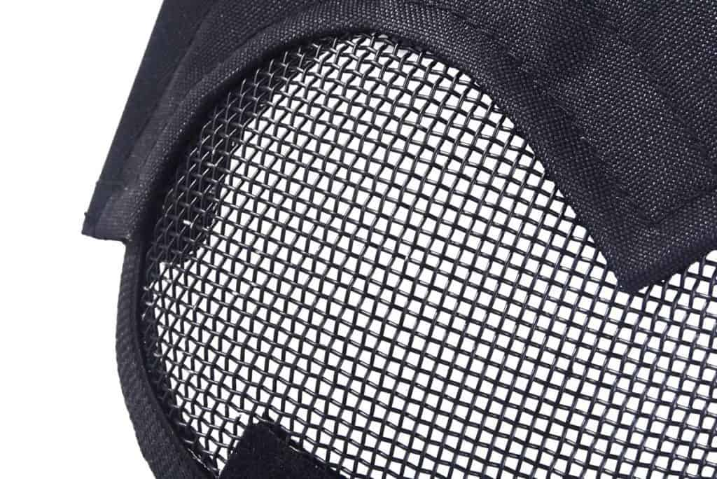 close up view mesh helmet